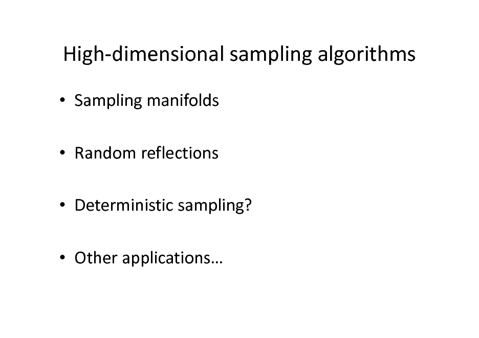 Slide: High-dimensional sampling algorithms  Sampling manifolds  Random reflections  Deterministic sampling?  Other applications