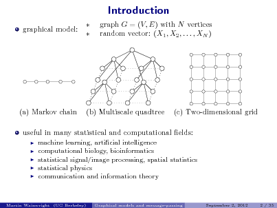 Slide: Introduction graphical model:   graph G = (V, E) with N vertices random vector: (X1 , X2 , . . . , XN )  (a) Markov chain  (b) Multiscale quadtree  (c) Two-dimensional grid  useful in many statistical and computational elds:       machine learning, articial intelligence computational biology, bioinformatics statistical signal/image processing, spatial statistics statistical physics communication and information theory  Martin Wainwright (UC Berkeley)  Graphical models and message-passing  September 2, 2012  2 / 35
