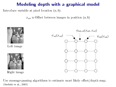 Slide: Modeling depth with a graphical model Introduce variable at pixel location (a, b): xab  Oset between images in position (a, b) ab,cd (xab , xcd ) cd (xcd ) Left image ab (xab )  Right image Use message-passing algorithms to estimate most likely oset/depth map. (Szeliski et al., 2005)