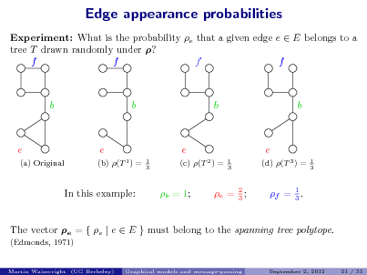 Slide: Edge appearance probabilities Experiment: What is the probability e that a given edge e  E belongs to a tree T drawn randomly under ? f f f f  b  b  b  b  e (a) Original  e (b) (T 1 ) = 1 3  e (c) (T 2 ) = 1 3  e (d) (T 3 ) = 1 3  In this example:  b = 1;  e = 2 ; 3  f = 1 . 3  The vector e = { e | e  E } must belong to the spanning tree polytope. (Edmonds, 1971) Martin Wainwright (UC Berkeley) Graphical models and message-passing September 2, 2012 21 / 35