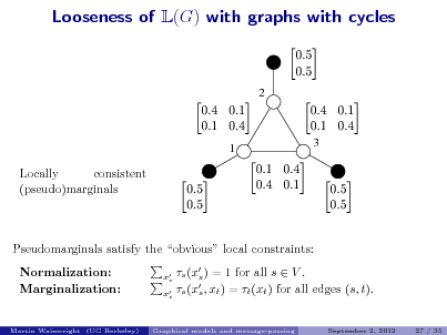 Slide: Looseness of L(G) with graphs with cycles   2      1      3  Locally consistent (pseudo)marginals             Pseudomarginals satisfy the obvious local constraints: Normalization: Marginalization: x s x s  s (x ) = 1 for all s  V . s s (x , xt ) = t (xt ) for all edges (s, t). s September 2, 2012 27 / 35  Martin Wainwright (UC Berkeley)  Graphical models and message-passing