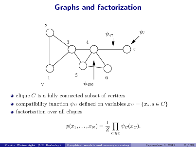 Slide: Graphs and factorization 2 47 3 4 7 7  v  1  5 456  6  clique C is a fully connected subset of vertices compatibility function C dened on variables xC = {xs , s  C} factorization over all cliques p(x1 , . . . , xN ) = 1 Z C (xC ). CC September 3, 2012 2 / 23  Martin Wainwright (UC Berkeley)  Graphical models and message-passing