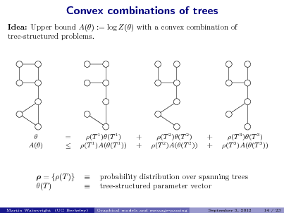 Slide: Convex combinations of trees Idea: Upper bound A() := log Z() with a convex combination of tree-structured problems.   A()  =   (T 1 )(T 1 ) (T 1 )A((T 1 ))  + +  (T 2 )(T 2 ) (T 2 )A((T 2 ))  + +  (T 3 )(T 3 ) (T 3 )A((T 3 ))   = {(T )} (T )     probability distribution over spanning trees tree-structured parameter vector Graphical models and message-passing September 3, 2012 14 / 23  Martin Wainwright (UC Berkeley)