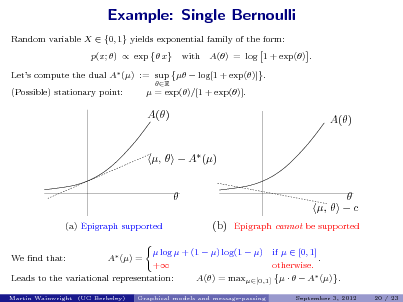 Slide: Example: Single Bernoulli Random variable X  {0, 1} yields exponential family of the form: p(x; )  exp  x Lets compute the dual A () R  with  A() = log 1 + exp() .  := sup   log[1 + exp()] .  = exp()/[1 + exp()].  (Possible) stationary point:  A()  A()  ,   A ()  (a) Epigraph supported A () =  (b)   ,   c Epigraph cannot be supported  We nd that:   log  + (1  ) log(1  ) if   [0, 1] . + otherwise. Leads to the variational representation: A() = max[0,1]     A () . Graphical models and message-passing September 3, 2012 20 / 23  Martin Wainwright (UC Berkeley)