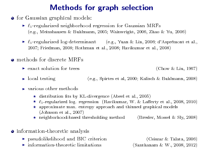 Slide: Methods for graph selection for Gaussian graphical models:   1 -regularized neighborhood regression for Gaussian MRFs (e.g., Meinshausen & Buhlmann, 2005; Wainwright, 2006, Zhao & Yu, 2006)    1 -regularized log-determinant  (e.g., Yuan & Lin, 2006; dAsprmont et al., e 2007; Friedman, 2008; Rothman et al., 2008; Ravikumar et al., 2008)  methods for discrete MRFs     exact solution for trees local testing various other methods      (Chow & Liu, 1967) (e.g., Spirtes et al, 2000; Kalisch & Buhlmann, 2008)  distribution ts by KL-divergence (Abeel et al., 2005) 1 -regularized log. regression (Ravikumar, W. & Laerty et al., 2008, 2010) approximate max. entropy approach and thinned graphical models (Johnson et al., 2007) neighborhood-based thresholding method (Bresler, Mossel & Sly, 2008)  information-theoretic analysis    pseudolikelihood and BIC criterion information-theoretic limitations  (Csiszar & Talata, 2006) (Santhanam & W., 2008, 2012)