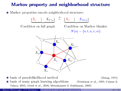 Slide: Markov property and neighborhood structure Markov properties encode neighborhood structure: (Xs | XV \s ) = d  (Xs  |  XN (s) )  Condition on full graph  Condition on Markov blanket N (s) = {s, t, u, v, w} Xs Xt  Xw Xs Xv basis of pseudolikelihood method basis of many graph learning algorithms Martin Wainwright (UC Berkeley)  Xu  (Besag, 1974) (Friedman et al., 1999; Csiszar & 10 / 24  Talata, 2005; Abeel et al., 2006; Meinshausen & Buhlmann, 2006) Graphical models and message-passing