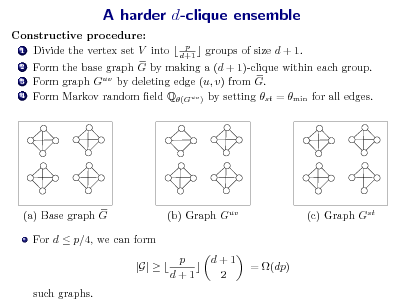 Slide: A harder d-clique ensemble Constructive procedure: 1 Divide the vertex set V into  p  groups of size d + 1. d+1 2 Form the base graph G by making a (d + 1)-clique within each group. 3 Form graph Guv by deleting edge (u, v) from G. 4 Form Markov random eld Q(Guv ) by setting st = min for all edges.  (a) Base graph G For d  p/4, we can form  (b) Graph Guv  (c) Graph Gst  |G|   such graphs.  p d+1  d+1 2  = (dp)